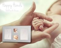 Happy Hands - Hand & Fußabdruckset - großer Rahmen (silberfarben)
