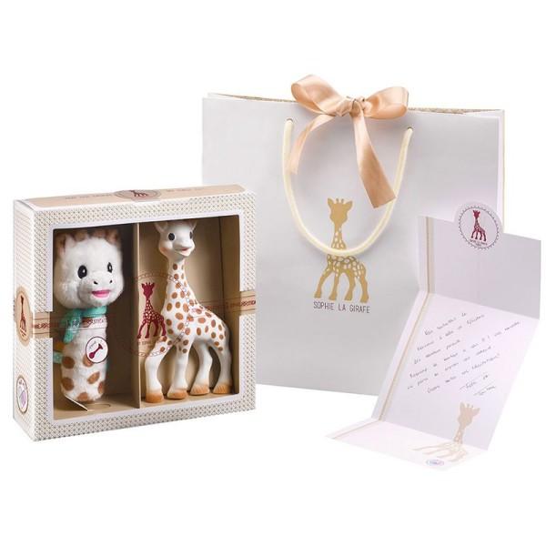 Sophie la girafe® Sophiesticated - Willkommensgruß - Set Nr. 5 (klein) / 1 Sophie la girafe® + 1 Plüschrassel