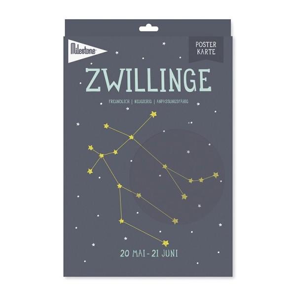 Milestone™ Sternzeichen-Posterkarte / Zwillinge