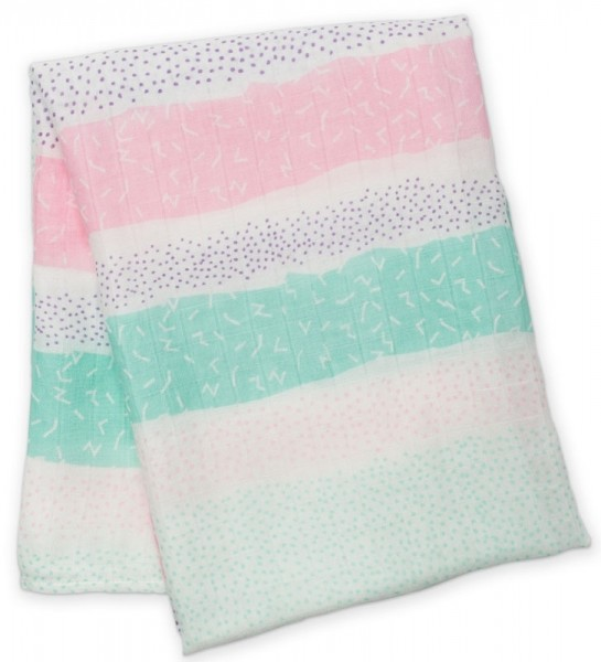 Bamboo Swaddle Mulltuch - Pink Spotted Stripe