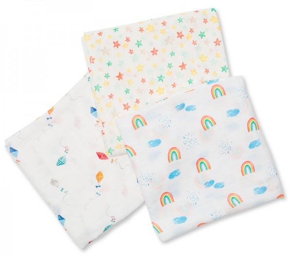 Bamboo Muslin Swaddle Mulltuch 3er Set - High in the Sky