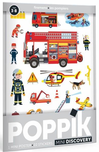 Poppik Stickerposter - Mini Discovery (1 Poster A4 + 22 Sticker) / Feuerwehrleute (3-8 J.)