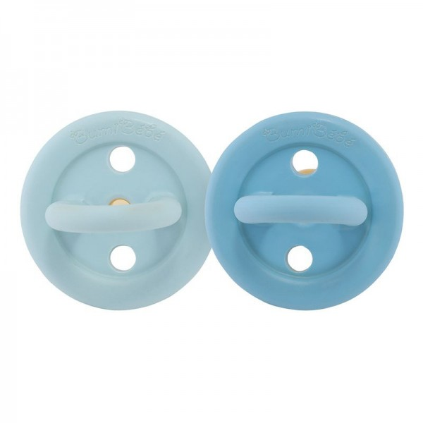 Bumi bébé Schnuller 2er-Pack - Naturkautschuk / Blue & Denim / rund / 3-36 Mon.
