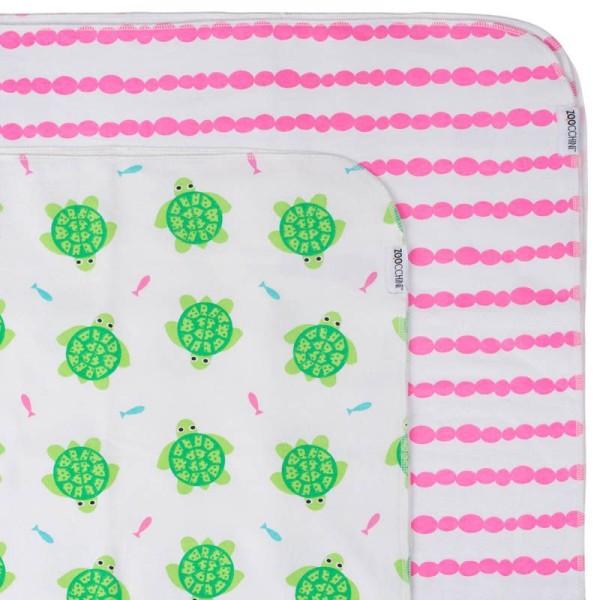 Baby''s Flanell blanket/Babydecke 2er Set - Turtle/Pink