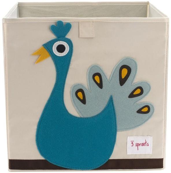 3 Sprouts - Aufbewahrungsbox für Kinderzimmer / faltbar / Pfau
